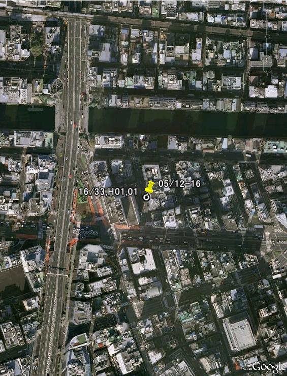 そしてmps.kmlファイルをダブルクリックするとGoogle Earthが立ち上がり、下図のように取った場所が確認できるのです!