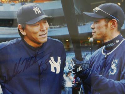 イチローと松井の直筆サインが入ったツーショット写真